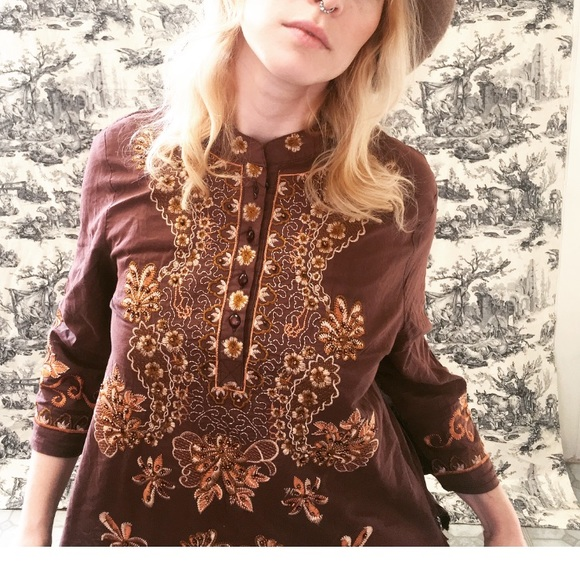 Tops - Boho Beaded and Embroidered Blouse
